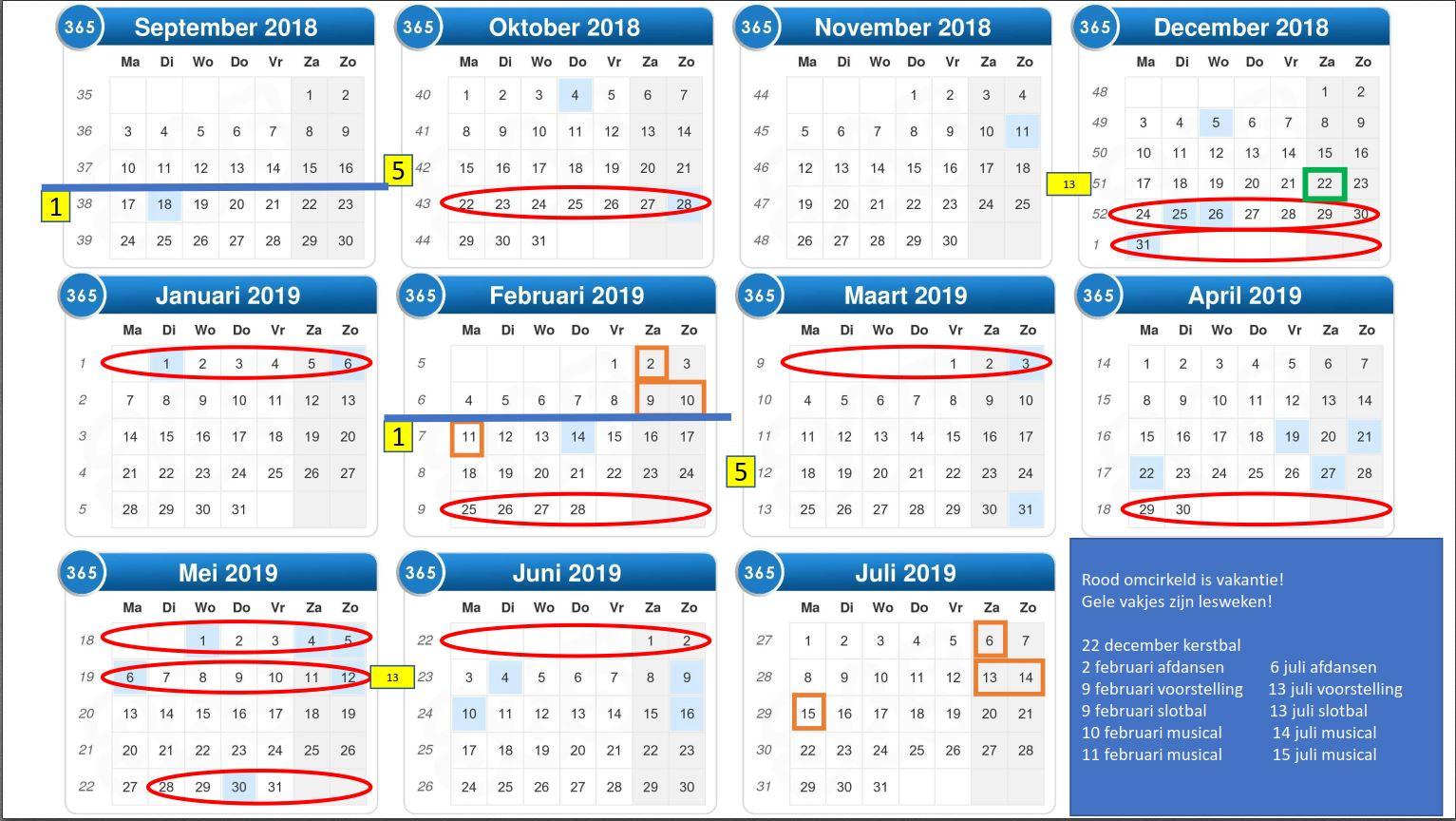 rooster weken 2018 2019